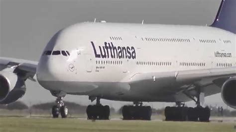 A380 Lufthansa - FIRST take-off from Prague [Full HD